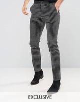 Reclaimed Vintage Inspired Skinny Pants In Pinstripe