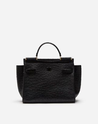 Dolce & Gabbana Medium Ostrich Leather Sicily 62 Soft Bag