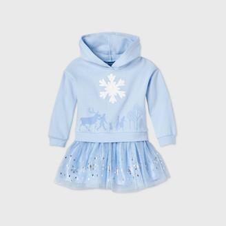 Disney Toddler Girls' Frozen Hooded Fleece Long Sleeve Tutu Dress - Light