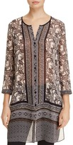 Nic+Zoe Monkey Print Semi-Sheer Tunic