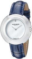 Akribos XXIV Women's AK876SS Mother-of-Pearl Dial Silver Tone & Blue Leather Strap Watch