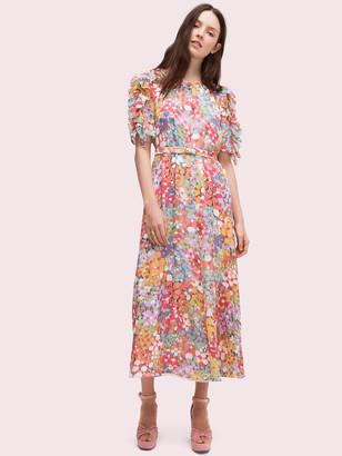 Kate Spade Floral Dots Ruffle Midi Dress