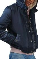 Topshop Fuse Faux Fur Lined Satin Bomber Jacket