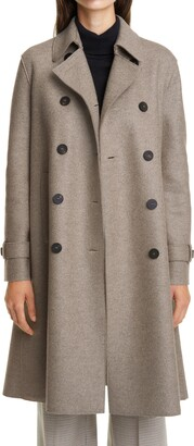 Harris Wharf London Pressed Wool Double Breasted Trench Coat