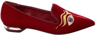 Nicholas Kirkwood Red Velvet Flats