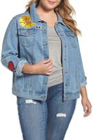 Glamorous Patch Detail Denim Jacket (Plus Size)