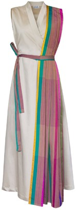Sage Dress With Pleated Stole