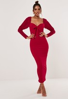 Missguided Tall Red Mesh Sleeve Bow Midi Dress