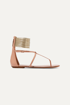 Aquazzura Spin Me Round Leather Sandals - Neutral