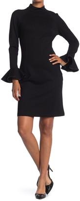 T Tahari Ruffle Cuff Long Sleeve Sheath Dress