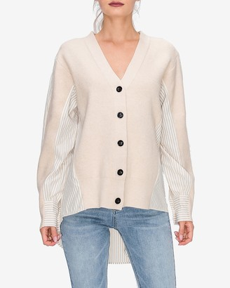 Express English Factory Mixed-Fabric Button Front Cardigan