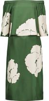 Tibi Amara off-the-shoulder floral-print silk midi dress