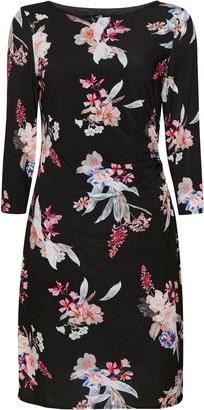 Wallis Pink Floral Print Ruched Side Dress