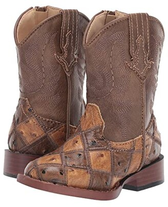 Roper Bird Blocks (Toddler) (Patchwork Vamp/Tan Shaft) Cowboy Boots