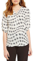 Preston & York Diana Roll-Tab Sleeve Zip Front Daisy Blouse