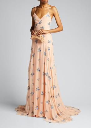MARKARIAN Embroidered Chiffon Asymmetric Bias Gown