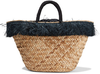 Kayu Fallyn Fringe-trimmed Woven Straw Tote