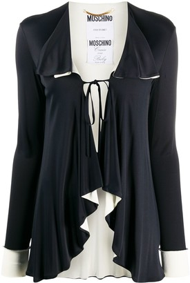 Moschino Pre Owned Tie-Front Waterfall Cardigan