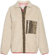 Sandy Liang - Checkers Leopard-print Canvas-trimmed Faux Shearling Jacket - Beige