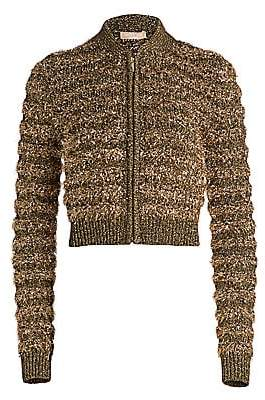 Michael Kors Women's Textured Metallic Zip-Front Bomber Jacket