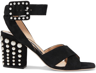 Sergio Rossi Elettra 75 Studded Suede Sandals