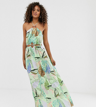 Asos Tall DESIGN Tall halter neck cut out maxi dress with trim detail in tropical print-Multi