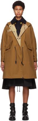 Sacai Brown Cotton and Nylon Oxford Coat