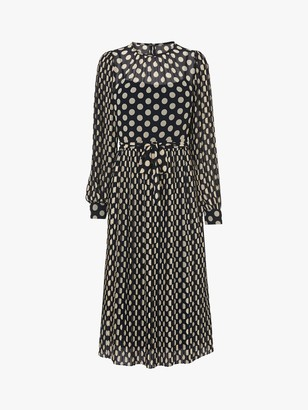LK Bennett Felix Spot Pleated Dress, Navy