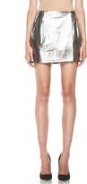 Diane von Furstenberg Melissa Metallic Leather Skirt in Silver