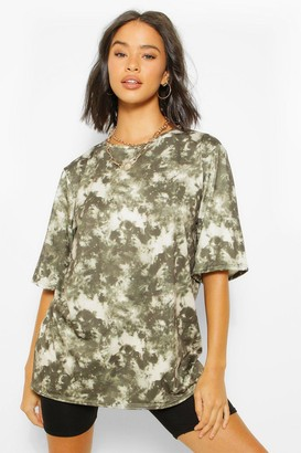 boohoo Tie Dye Oversized Elbow Length T Shirt