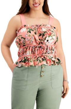 INC International Concepts Inc Plus Size Floral-Print Ruched Tie-Front Tank Top, Created for Macy's