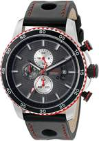 Redline Red Line Men's 'Speed Rush' Quartz Stainless Steel and Leather Automatic Watch, Black (Model: RL-304C-014-RDA)