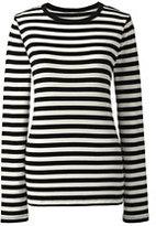 Classic Women's Petite Shaped Cotton Crewneck T-shirt-Black Stripe