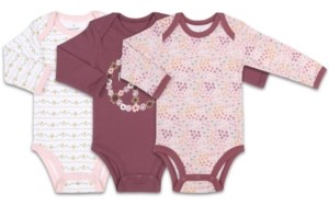 The Peanut Shell The Baby Girl Floral Mauve Long Sleeve Bodysuit 3 Pack