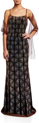 Jovani Geo Metallic Slip Gown
