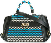 Salvatore Ferragamo zig-zag embroidered tote - women - Calf Leather - One Size