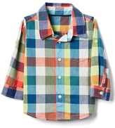 Gap Plaid madras convertible shirt