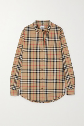 Burberry Checked Cotton-blend Shirt - Beige