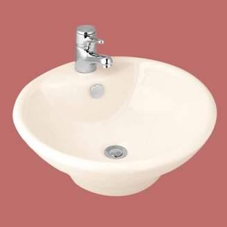 The Renovators Supply Inc. Vitreous China Circular Vessel Bathroom Sink with Overflow The Renovators Supply Inc.