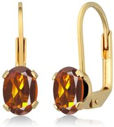 Gem Stone King 1.40 Ct Oval Madeira Citrine Gold Plated 4-prong Leverback Earrings