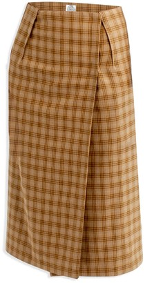 Cleo Prickett Wrap Skirt In Mustard Plaid Soft Touch 100% Wool From Savile Row