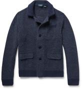 Incotex Slim-fit Mélange Virgin Wool And Alpaca-blend Cardigan - Storm blue