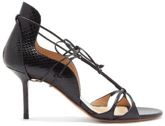 Francesco Russo Laced Snakeskin Stiletto Sandals - Black