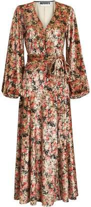 Rotate by Birger Christensen Beatrix Velvet Floral Wrap Dress