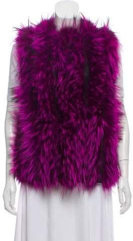 Fendi Leather-Trimmed Fur Vest w/ Tags