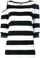 I'M Isola Marras striped cut-out T-shirt - women - Nylon/Polyester/Spandex/Elastane/Viscose - L