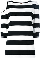 I'M Isola Marras striped cut-out T-shirt - women - Nylon/Polyester/Spandex/Elastane/Viscose - S