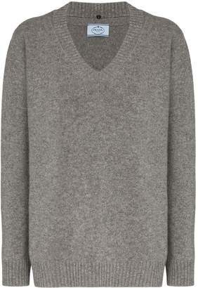 Prada oversized v-neck virgin wool and cashmere-blend jumper