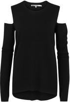 Pam & Gela Black Open-shoulder Wool Blend Jumper