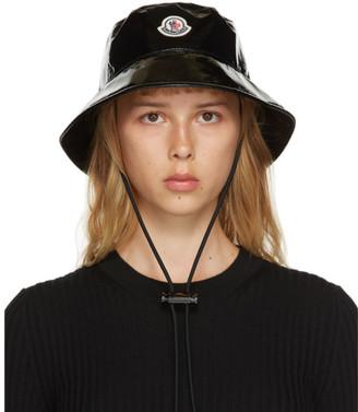 Moncler Black Shiny Logo Bucket Hat
